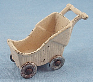 Kilgore Toy- Baby Carriage - Yellow - Cast Iron - Dollhouse Miniature