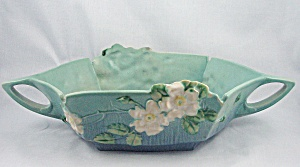 Roseville White Rose Console Bowl, 393-12	 (Image1)
