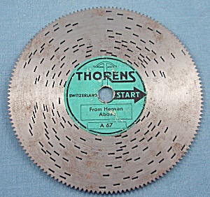 """Vintage Thorens 4 ½"""" Music Box Disc, """"From Heaven Above"""" (Image1)"""
