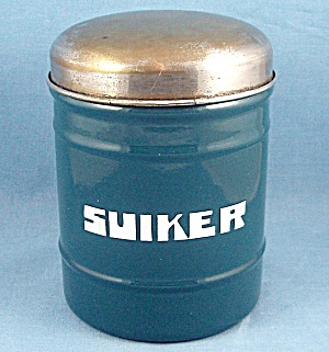 Granite Ware – Blue Suiker  (Sugar) Canister – White Interior – Metal Lid	 (Image1)