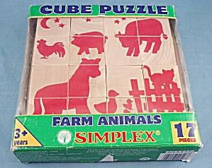 "17 Piece Wooden Cube Puzzle ""Simplex"" Farm Animals (Image1)"