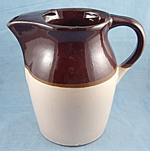 Brown & Beige, Stone Ware Pitcher, With Ice Lip
