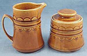 Homer Laughlin - Granada – Cream Pitcher & Sugar Bowl – Golden Harvest (Image1)