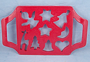 One Step Cookie Cutter - Joined Red Plastic Holiday Cookie Mold