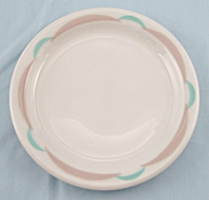 Shenango - Crescant, Tan & Turquoise, Airbrushed Edge - Bread Plate, B - Restaurant Ware