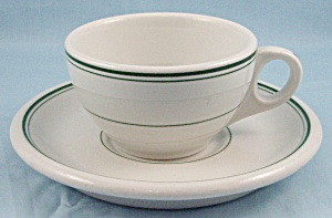 Jackson China � Green Lines, Cup & Saucer- Restaurant Ware (Image1)