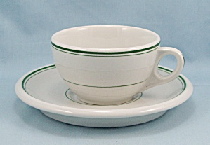 Jackson China � Green Lines/ Stripes, Cup & Saucer - Restaurant Ware (Image1)