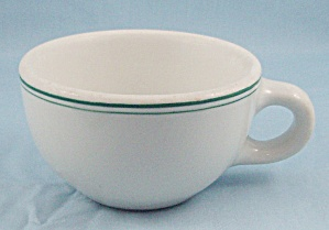 Shenango China – Green Indian – Cup, Green Lines Trim - Restaurant Ware (Image1)