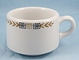 Shenango China - Esquire Pattern - Coffee Mug - Greek Key, Gold Laurel - Restaurant Ware