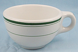 Sterling China - Green Lines/ Stripes Coffee Cup - Restaurant Ware