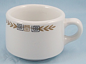 Shenango China - Esquire Pattern - Coffee Mug - Greek Key, Gold Laurel - B - Restaurant Ware