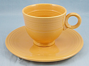 Homer Laughlin – Fiesta – Yellow Saucer and Cup, Ring Handle (Image1)