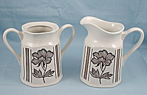 J & G Meakin - Lotus - Cream Pitcher & Sugar Bowl - Liberty Shape