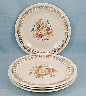 Edwin M. Knowles - 4 Salad Plates, Floral Center, Gold Filigree Rim