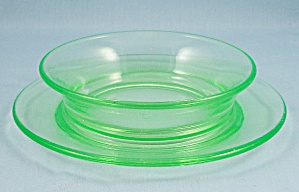 U.s. Glass - Green Depression Breakfast Bowl, Attached Plate