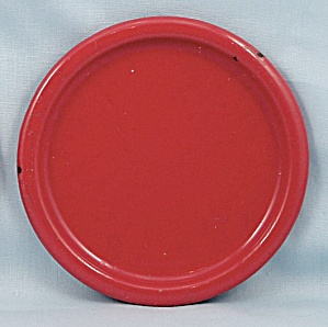 Columbian Enameled / Granite Ware Coaster  � Terre Haute, Indiana � Red A (Image1)