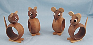 4-Novelty Wood Napkin Rings � Cat & Mouse � Made In Italy (Image1)