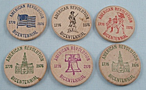 Advertising - 6 Wooden Nickels - American Revolution/bicentennial - Shippensburg, Pa