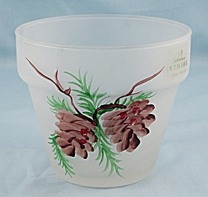 Viking Glass- Hand Painted - Frosted Glass - Flower Pot, Pinecone