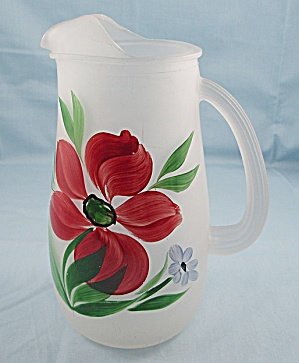 Viking Glass - Hand Painted - Frosted Glass Pitcher