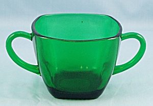 Charm – Forest Green Sugar Bowl  – Anchor Hocking (Image1)