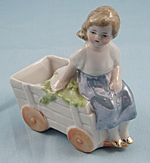 Luster Painted Girl On Wagon