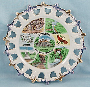 Milk Glass – State Of Virginia Plate	- MIJ	 (Image1)