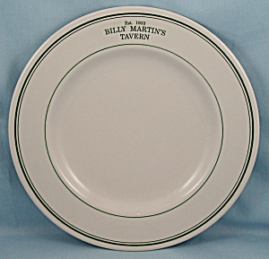 Homer Laughlin China Plate - Billy Martin's Tavern - Est. 1933
