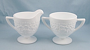 Indiana Glass - Flower & Leaf Band - Open Sugar, Creamer