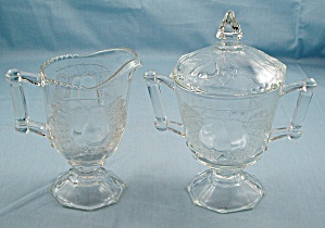 Baltimore Pear - Jeannette Glass - Creamer, Sugar Bowl & Lid
