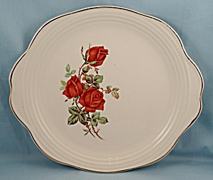 Universal China – American Beauty Rose – Handled Cake Plate (Image1)