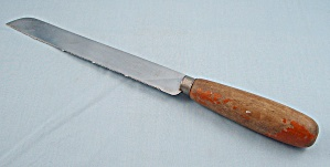 Vintage Bread Knife � Sheffield England � Orange Wood Handle (Image1)