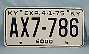 Kentucky 1975 License Plate