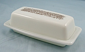 Pyrex, Quarter Pound Butter Dish & Lid - Woodland Brown