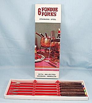 Fondue Forks – MIJ – Wood Handles, Original Box (Image1)