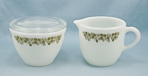 Spring Blossom Green, Cream Pitcher & Covered Sugar - Pyrex/corning