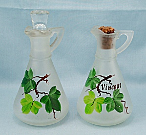 Hazel Atlas - Frosted, Hand Painted Oil & Vinegar Cruets - Green Leaf