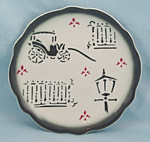 Wellsville China Co. - Surry Pattern, Small Plate - Carriage, Lamp Post - Airbrushed