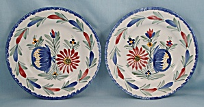 2 Quimper / Hand Painted / Floral Plates