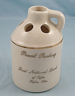 P. A. C. � Jug - First national Bank, Tiffin Ohio � Souvenir Pottery, Pencil Holder, Beige (Image1)