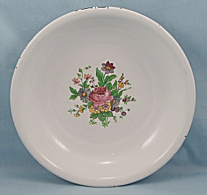 White Graniteware Bowl - Floral Decoration (Image1)