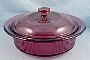 Corning Cranberry Visions - 1 Quart Round Covered Casserole