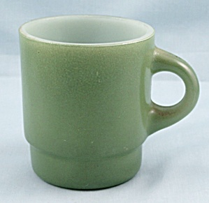 Fire King - Green Stackable Mug- Ashland Oil Promotion