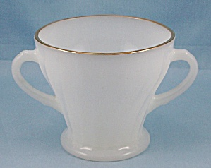 Fire King - Swirl - Open Sugar Bowl, Gold Trim