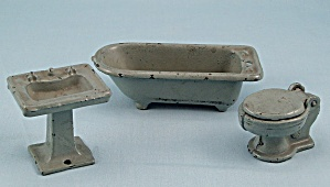 Kilgore - Cast Iron - Dollhouse Furniture - Gray Bathroom Set - Three Pieces