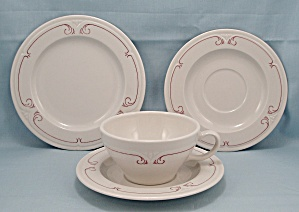 Syracuse China - Four Pieces. Maroon Line