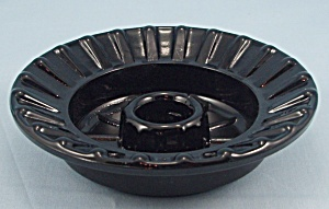 Black Glass / Low Candle Holder / Candle Bowl / Candlestick (Image1)