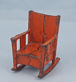 Kilgore, Cast Iron, Dollhouse Furniture, Orange Rocking Chair (Image1)