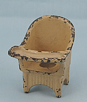 "Kilgore Toy - Cast Iron ""sally Ann"" Nursery Chair - Old Ivory"