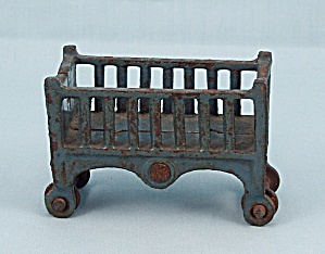 Kilgore - Cast Iron - Dollhouse Furniture - Baby Crib - Dark Blue